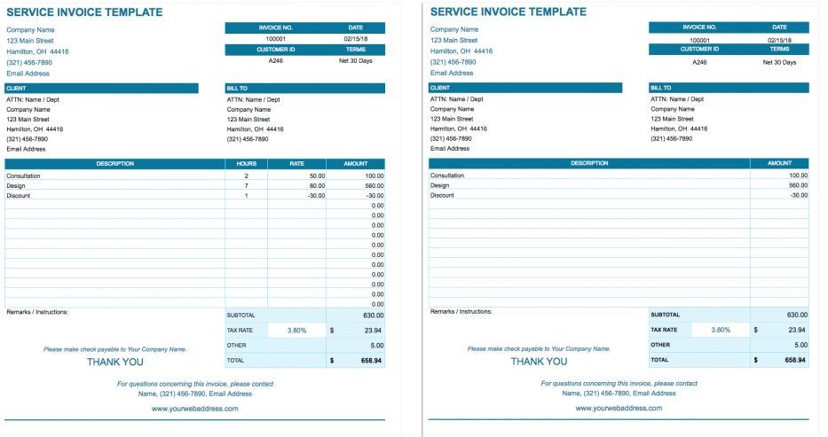 free Google Sheets Invoice templates