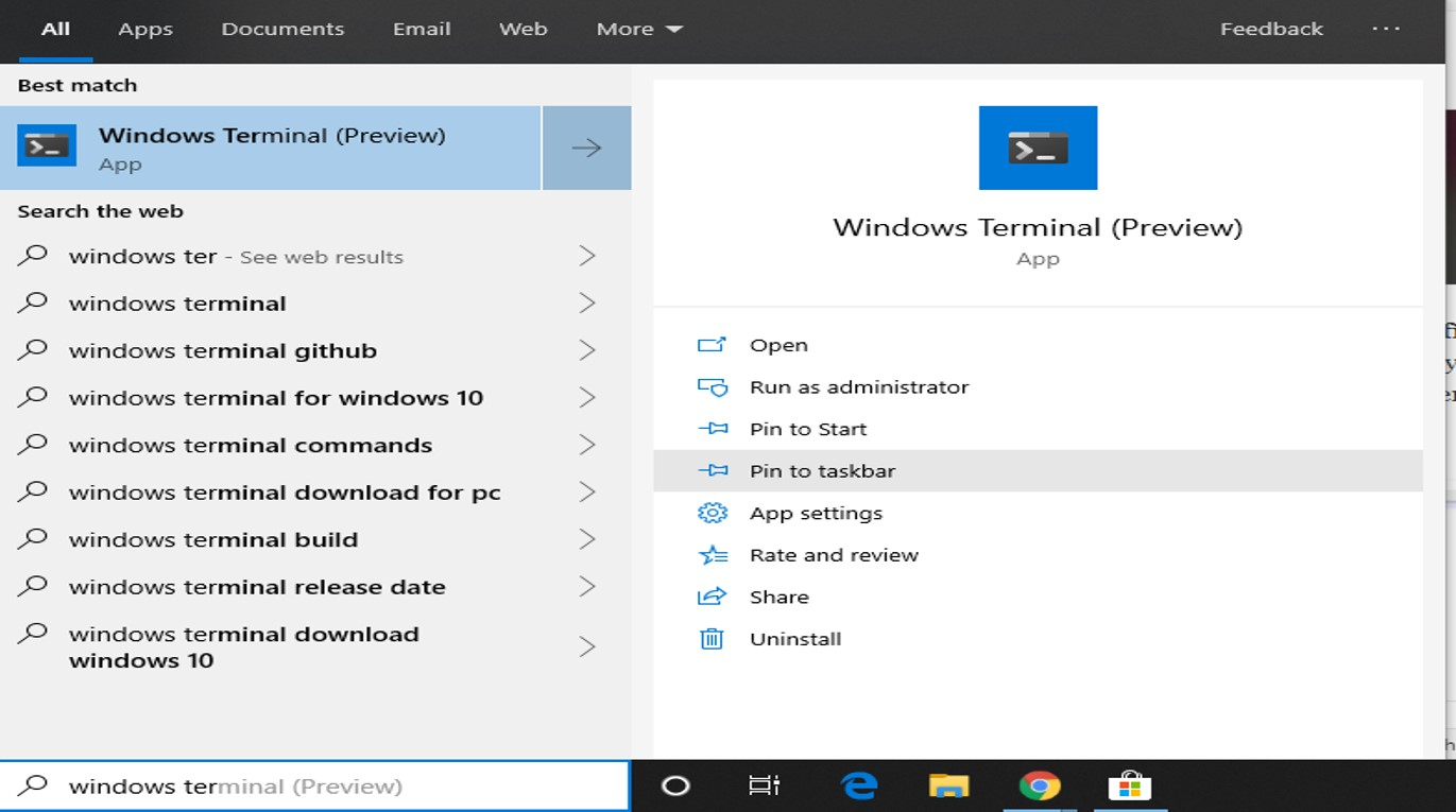 How to install Windows Terminal on Windows 10 from Microsoft Store