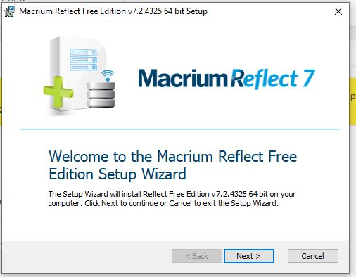 welcom to Macrium Reflect setup wizard