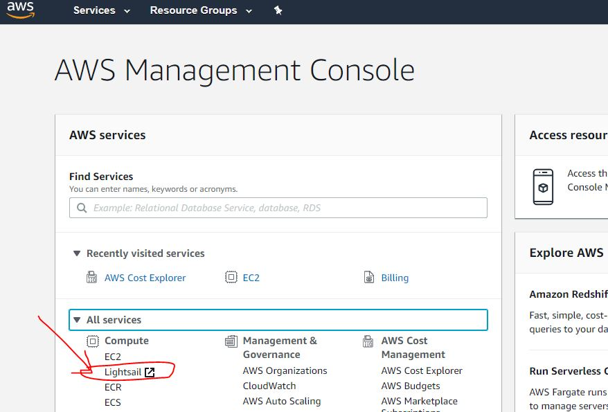 AWS management console page for lightsail