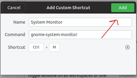Add system monitor shortcut