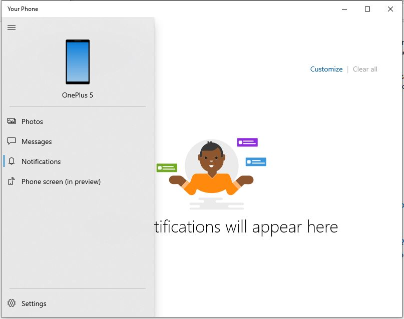 Android phone notifications on Windows 10 PC