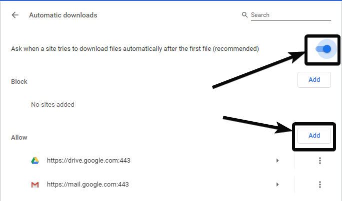 Alternatively enable automatic downloads only for some specific websites