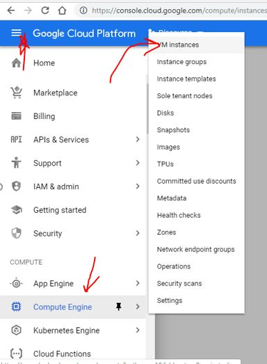 Create VM instance on Google Cloud computing Compute engine
