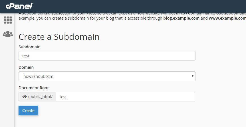 Create a Subdomain from Cpanel bluehost