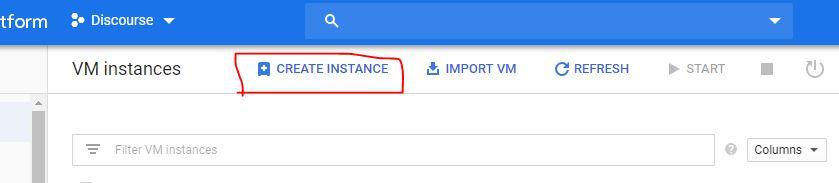 Create a VM instace on GCP