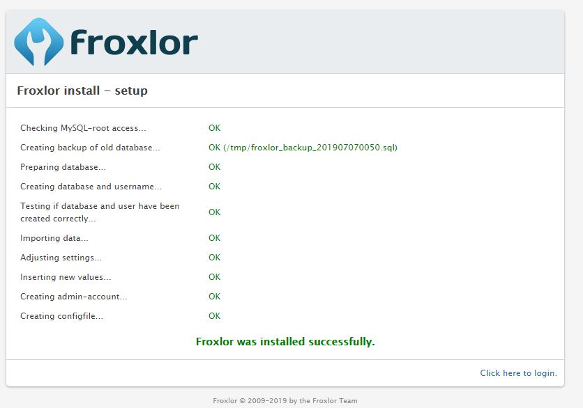 Froxlor install successful