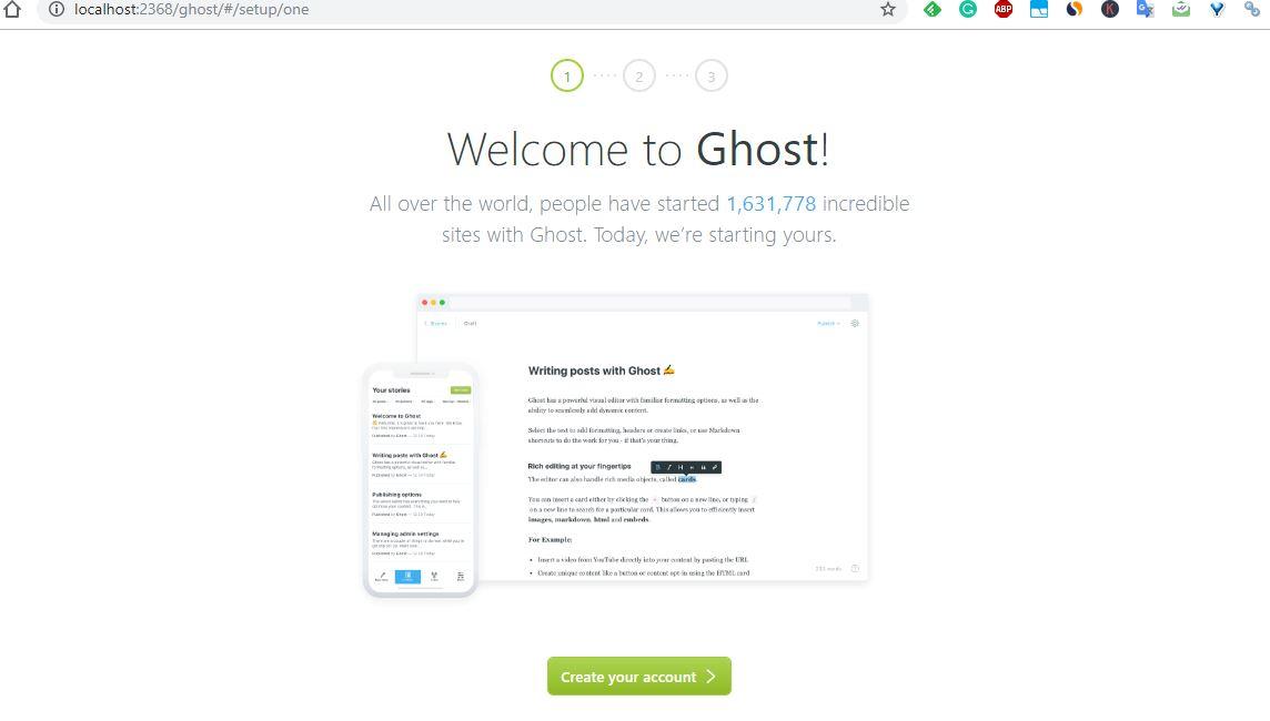 Ghost setup on Windows