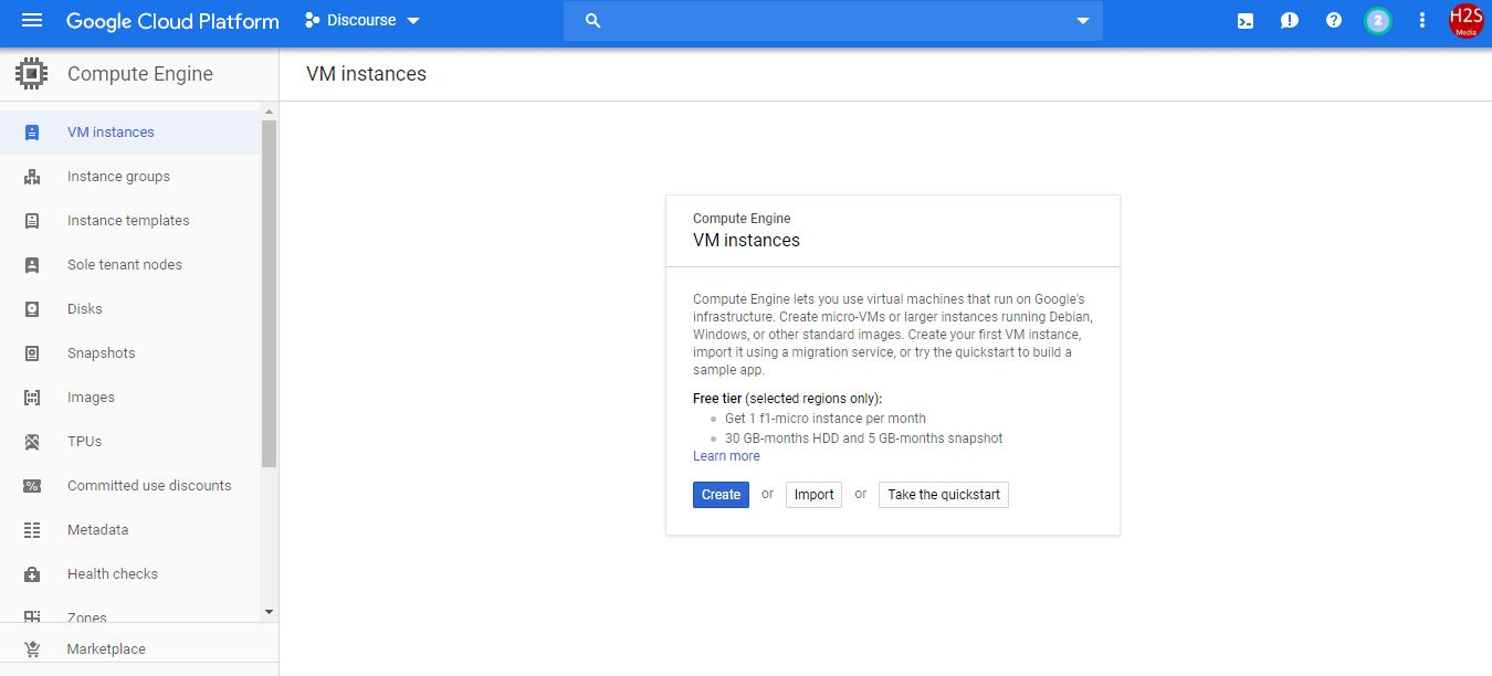 Google Cloud VM instance creation