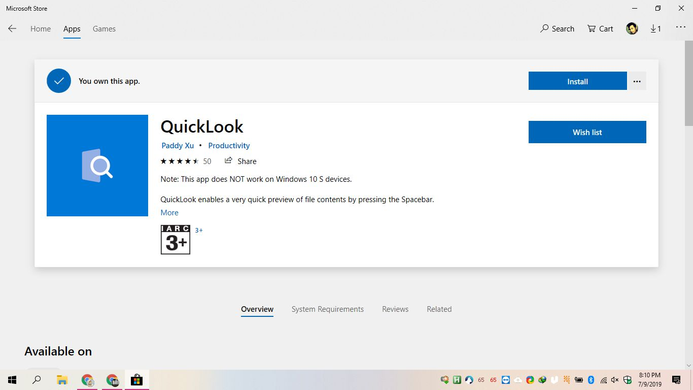 QuickLook file preview Windows 1