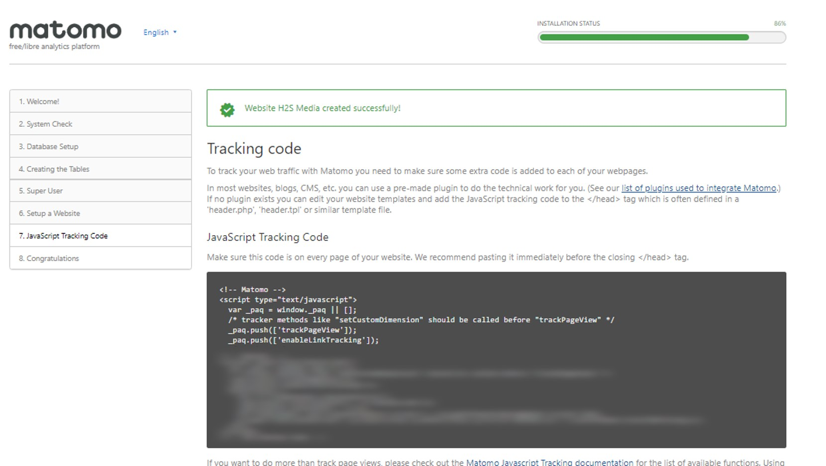 Self hosted analytics tracking code