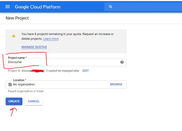 Set the GCP project name (1)