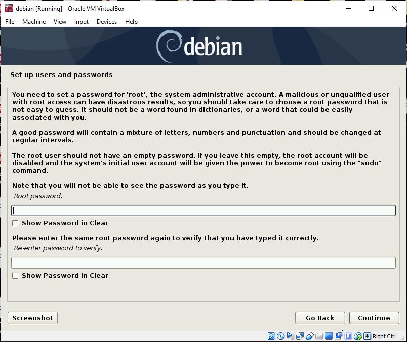 Setup username and password of root for Debian 10 buster
