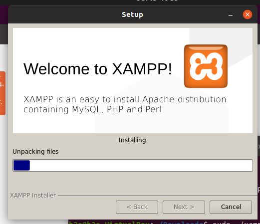 Setup will start installing XAMPP on Ubuntu