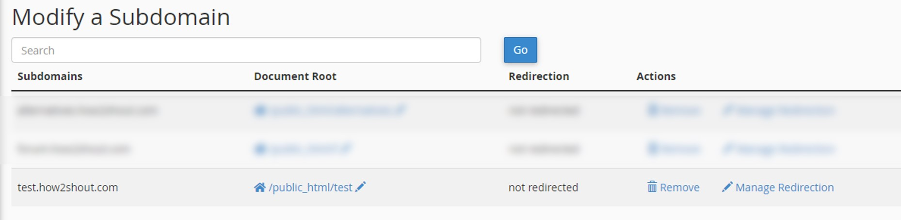 Subdomain redirection