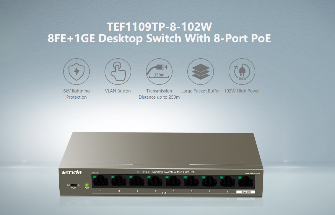 TEF1109TP-8-102W Desktop Switch With 8-Port PoE.