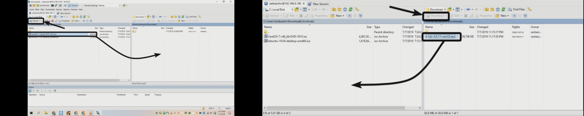 WinSCP for file transfer 7 8