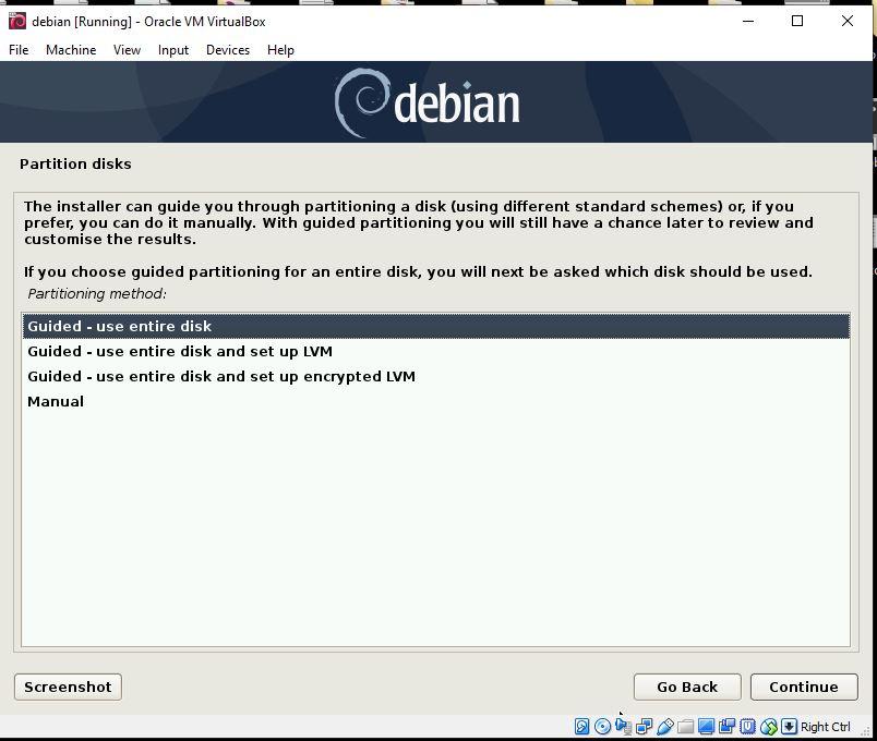 partition Disk for Debian 10 VM