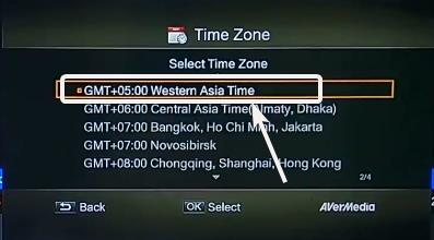AVerMedia Media Recorder select the time zone with respect to GMT
