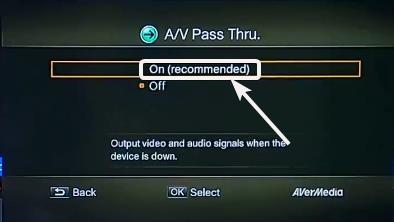 A/V pass-through enable or disable
