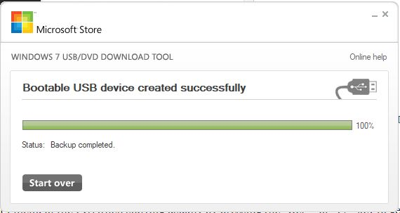 Bootable USB device created successfully