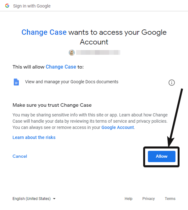 allow Change case to access Google account