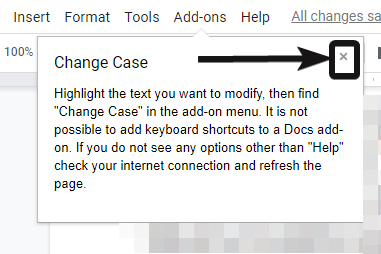 Change case on Google Docs 5