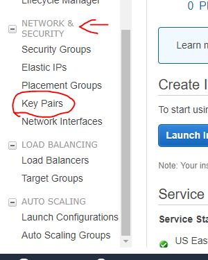 Create a key pari for Elastic Beanstalk