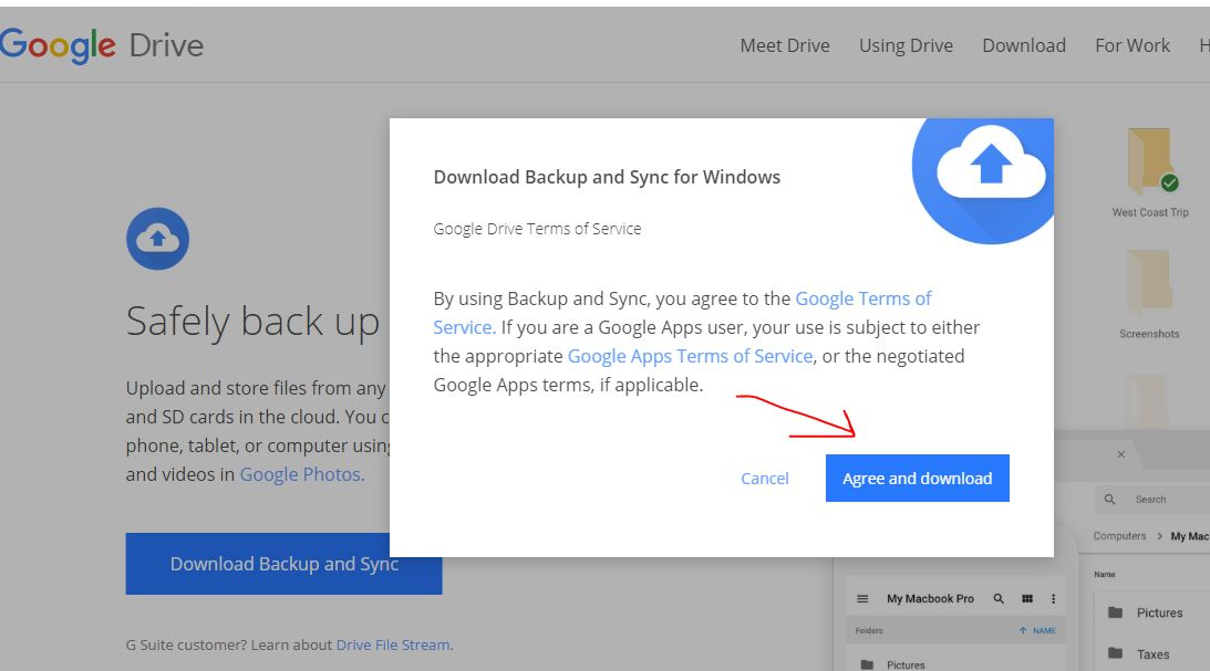 Download Google Drive backup and sync for Windows