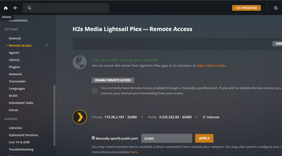 Enable amazon lightsail plex server Remote Access