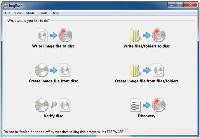 ImgBurn best free DVD orCD burner software