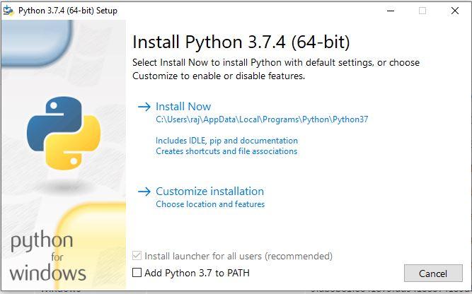 Install Python 3.7 on Windows 10