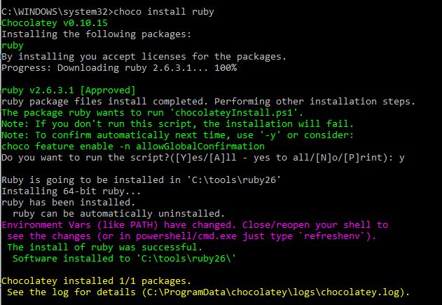 Install Ruby on WIndows using Choclatey Choco