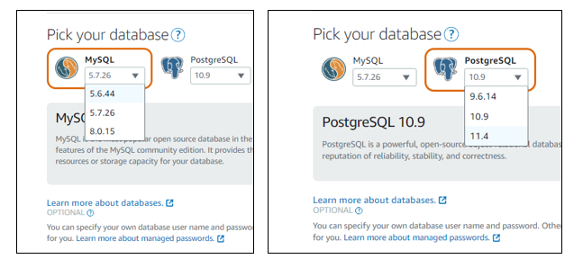 MySQL Database and PostgreSQL