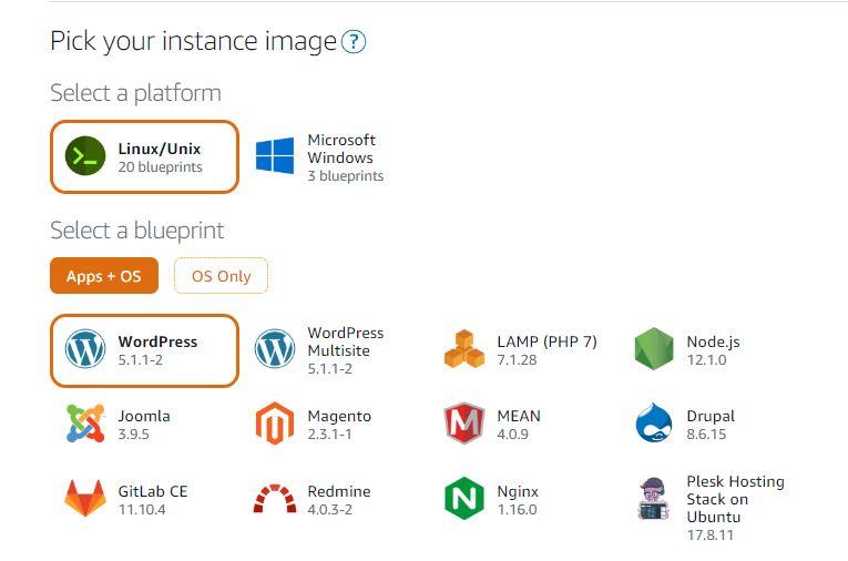 Pick instance Linux server image and wordpress app