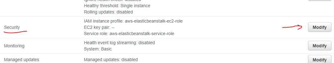 Security settings of BEanstalk envrioenment