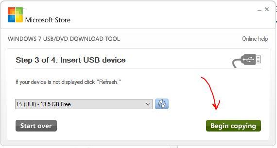 Start creating a Windows 10 bootable USB drive