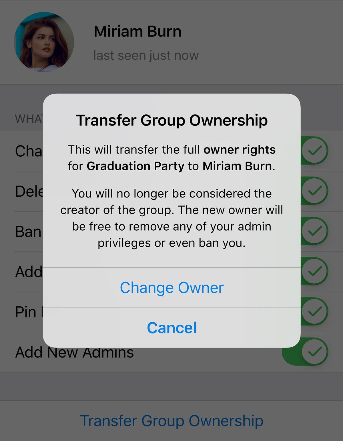 Transfer owener ship of Telegram group
