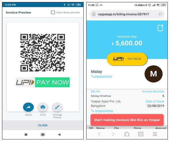 Vyapar Billing Software enables interface with UPI payments for digital payments