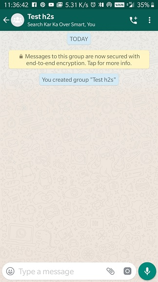 WhatsApp Gorup created successfully on Android