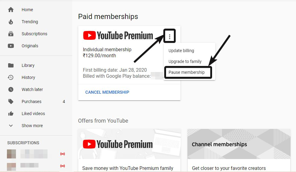YouTube Paid memberships' section