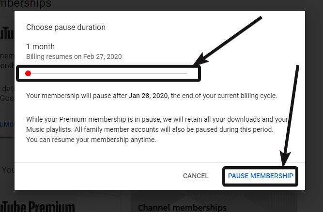 YouTube pause membership 6