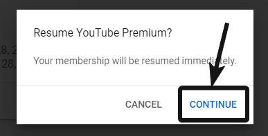 Resume Youtube premium