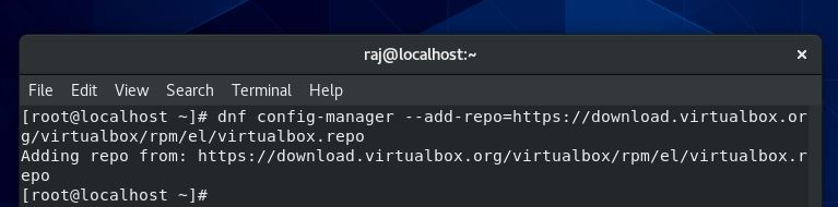 Adding VirtualBox repo in CentOS 9 Linux or stream