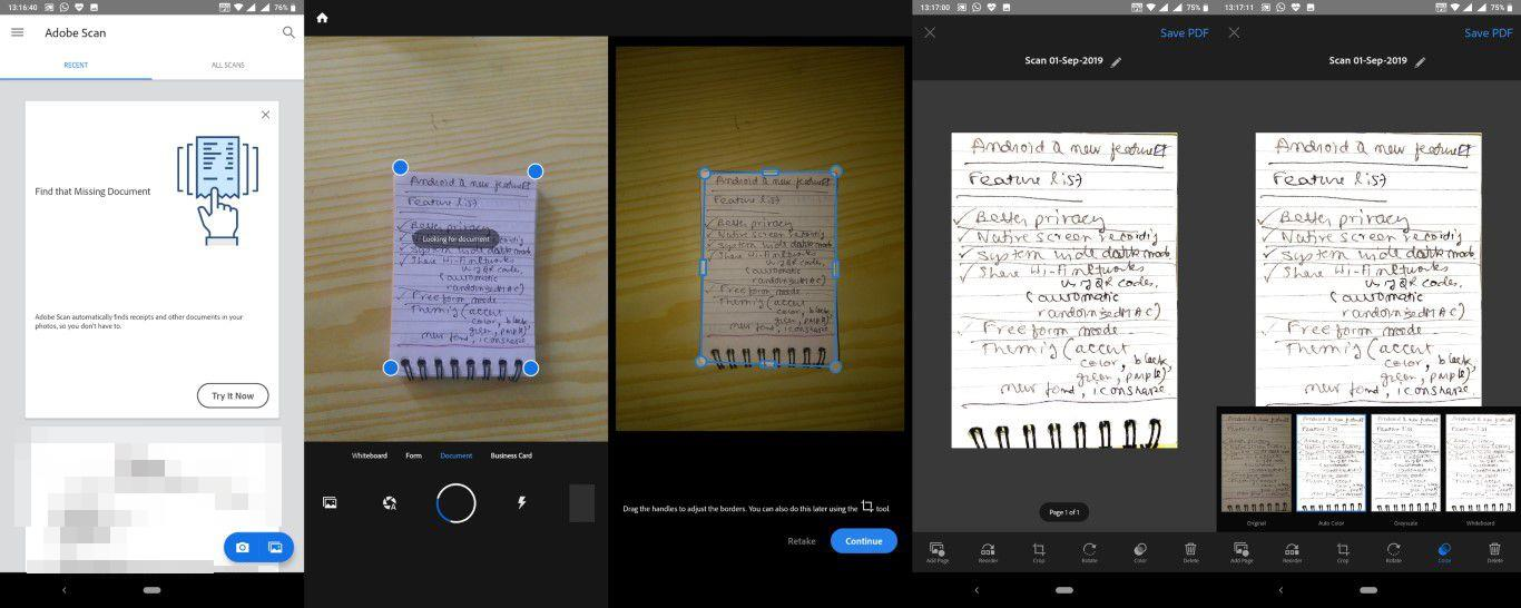 CamScanner alternative Adobe Scan for scanning document on phone.
