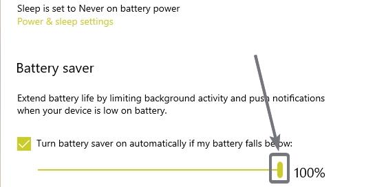 Turn battery saver on automatically if my battery falls below