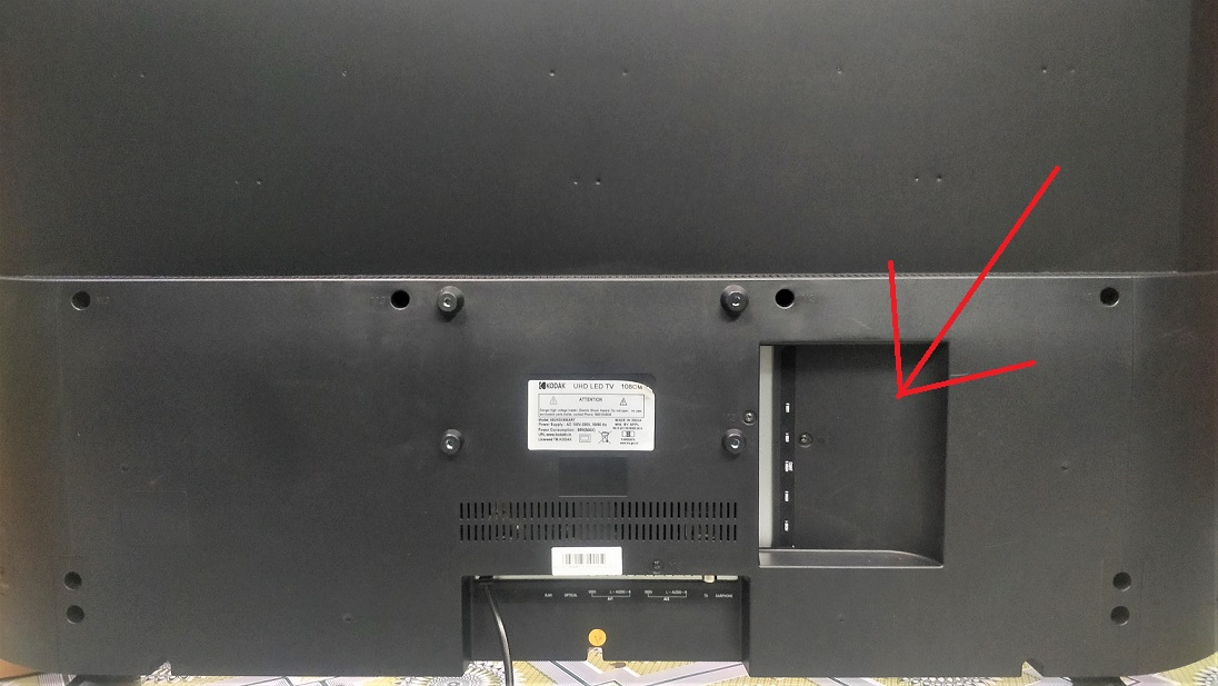 Back side ports of Kodak 4kUHDXsmart TV
