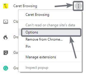 Caret browsing extension is installed