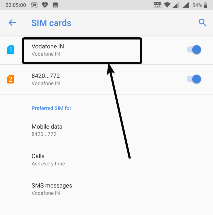 find the SIM cards connected to your mobile