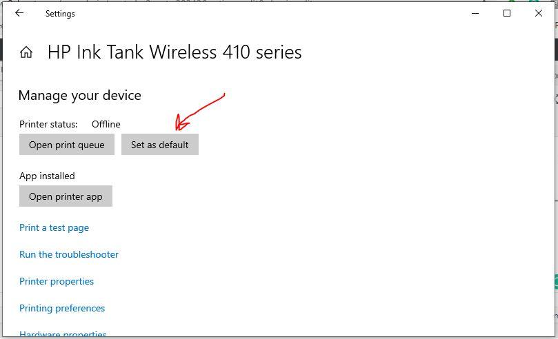 Choose Set as Deafult button for Windows 10 printer